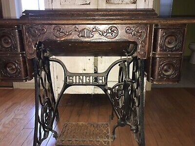 Antique Singer Treadle Sewing Machine Table Tiger Oak Wood With Cast Iron