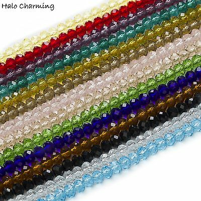 50 Piece Crystal Glass Beads Quartz Rondelle Faceted Jewelry Making 4mm