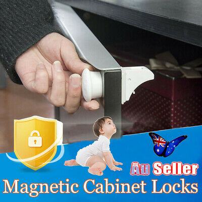 12PCS Magnetic No Drilling Cabinet Drawer Cupboard Locks Baby KidS Safety Lock