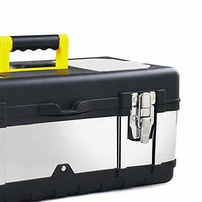 16-inch Tool Box Stainless Steel Consumer Storage with Removable Tool Tray Orga