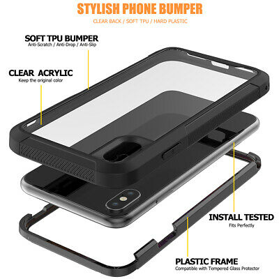 For iPhone 6s 7 8 Plus XR XS Max Case Shockproof 360 Bumper Hybrid Phone Cover