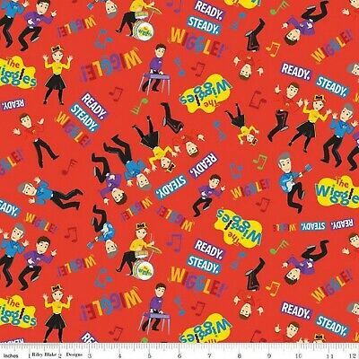 The Wiggles Ready Steady Wiggle Play Music Red Cotton Quilting Fabric 1/2 Y/D