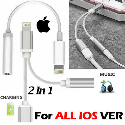 iPhone 11 X XS Max 8 7 2in1 Lightning To 3.5mm Jack Adapter Charging Cable Lot
