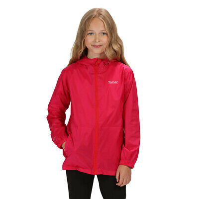 Regatta Girls Pack-It III Waterproof Kids Jacket Top Pink Sports Outdoors