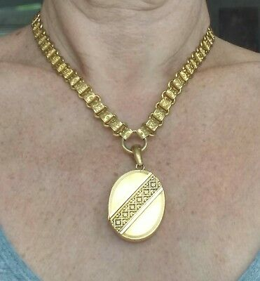 Antique Victorian Pinchbeck / Rolled Gold Collar Book Chain Necklace And Locket