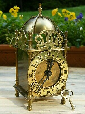 A Vintage Smiths 8 Day Brass Lantern Clock With Key Working Fine