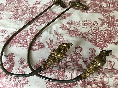 Pair Antique French Bronze / Brass Curtain Swing Back / Tie Back Hooks