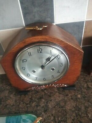 Antique Smiths Enfield Vintage Working Chiming Pendulum Mantle Clock With Key