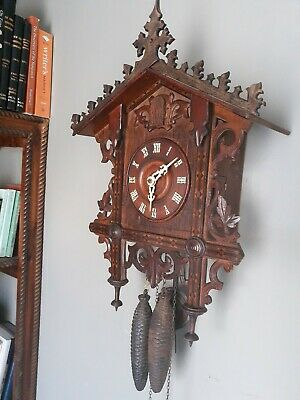ANTIQUE George Keuhl RAILROAD CUCKOO CLOCK IN WORKING CONDITION