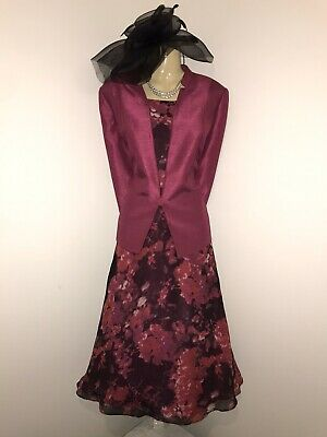 JACQUES VERT Size 16 Pink Red Floral Dress Jacket Outfit Mother Of The Bride