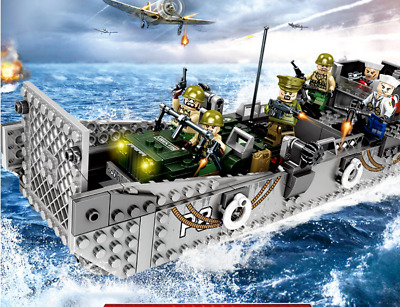 Toy Soldiers D-Day U.S. Army Normandy Landing Craft WWII Bricks Jeep fit lego