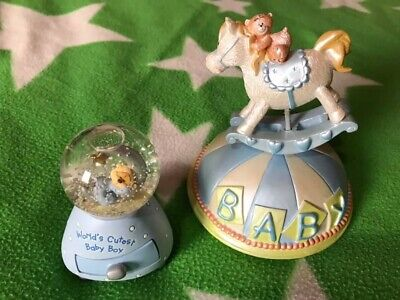 ** Wind Up - Baby - Moving Musical Rocking Horse & Baby Boy Snow Globe **