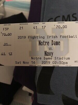5 Tickets Notre Dame Fighting Irish vs. Navy Midshipmen Football 11/16/19