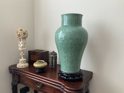 Extremely fine quality Large Chinese antique celadon carved baluster vase