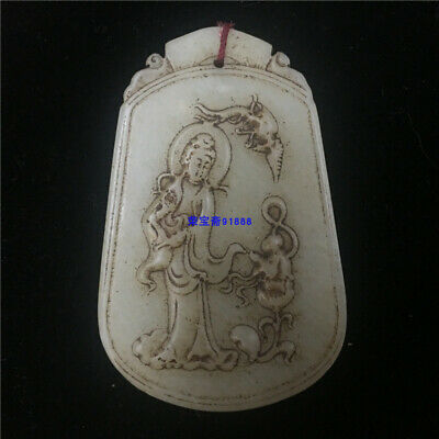 """3"""" Chinese Natural handcarved old antique hetian jade guanyin Children Pendant"""