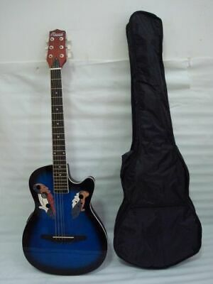 Free Gig Bag 6 String Acoustic Electric Guitar, Round Back, Oval Back, Blueburst