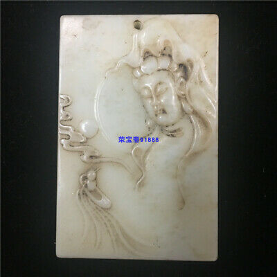 """3"""" Chinese 100% Natural handcarved old antique hetian jade guanyin Pendant"""