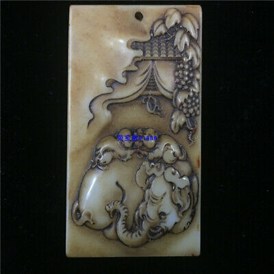 """3"""" Chinese Natural handcarved old antique hetian jade Monkey Elephant Pendant"""