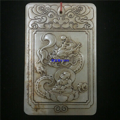 "3"" China Natural handcarved old antique hetian jade dragon Buddha statue Pendant"