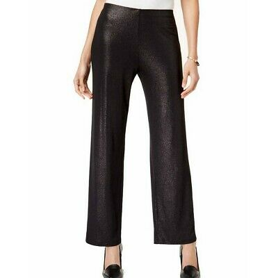 ALFANI NEW Women's Black Foiled Pull On Wide-leg Casual Pants TEDO