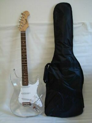 Professional 6 String Clear Body Lucite Electric Guitar with Gig Bag, New