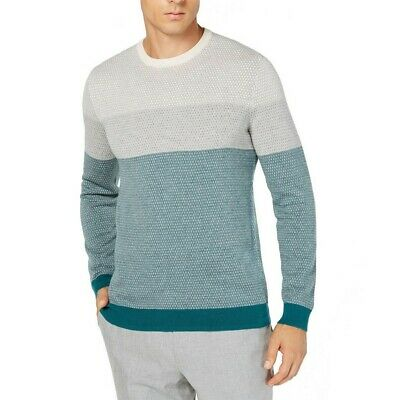 TASSO ELBA NEW Men's Colorblocked Supima Cotton Crewneck Sweater TEDO