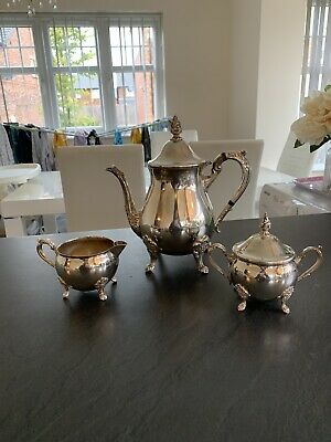 Vintage Viners Teapot set, Sugar and Milk jug Silver Plated Antique Beautiful
