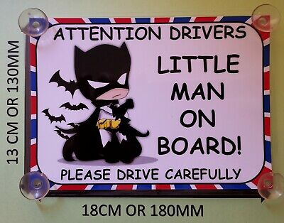 Baby Dressed As Batman little man On Board Car Laminated Sign
