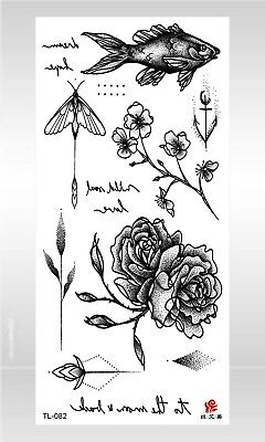 US SELLER- tattoo stickers rose flower fish black temporary tattoo