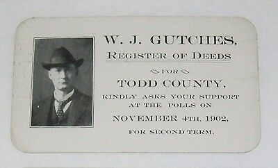 Political Campaign Card - 1902 - WTJ Gutches - Todd Cty, MN - Register of Deeds
