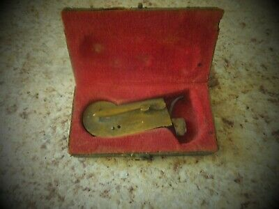 Antique Brass Bleeder In Case  Mechanical Lancet Medicine Old