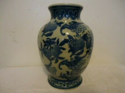 Signed Blue White Chinese Porcelain Peaches, Bats and Berry Vase