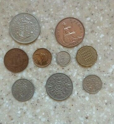 Pre decimal british coins Collection half crown, farthing, sixpence, shilling..