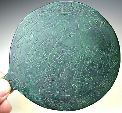 Large Roman Bronze Hand-Held Mirror Scene
