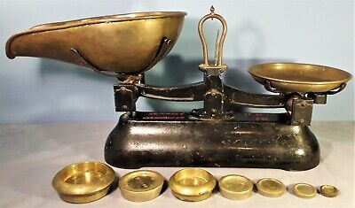 Antique Cast Iron and Brass W&T Avery Weighing Scales with Set of Weights
