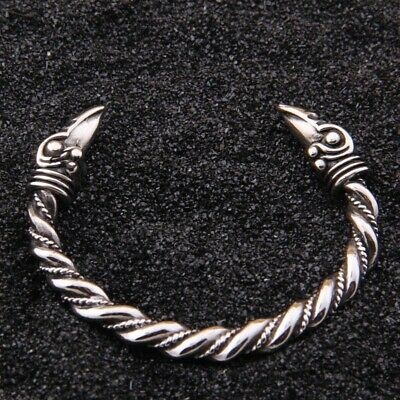 Viking Stainless Steel Bracelet Odin's Raven Heads Norse Arm Ring Cuff Bangle