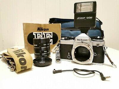 [Tested] NIKON FE 35mm SLR Film CAMERA with Strap, Case, Extension Tubes,