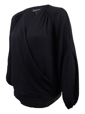 INC International Concepts Women's Surplice-Neck Split-Sleeve Blouse 1X, Black