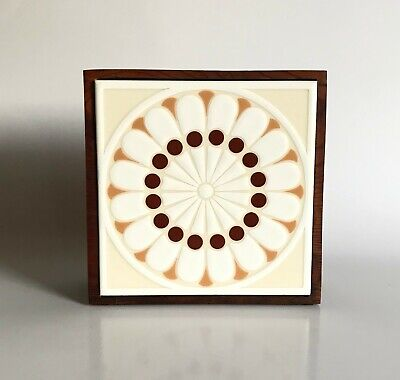 Vtg Mid Century Modern Sunburst Flower Power Ceramic Tile & Wood Napkin Holder