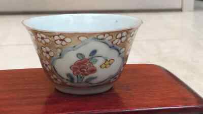 Early 18th Century Chinese peony and prunas Blossom Teabowl