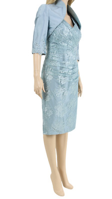John Charles Teal Mother of the Bride Sequined Lace Jacket 2 Piece Dress UK 10