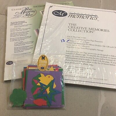 Creative Memories LOT Page Protectors, Photo Mounting Paper and Dye Cut Shapes