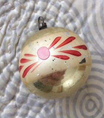 Antique German Ball Hand Blown Mercury Glass Christmas Ornament