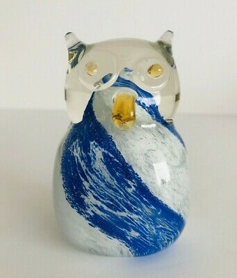 "Hand Blown Clear With White & Blue Art Glass Owl Figurine 3.5"" Tall"