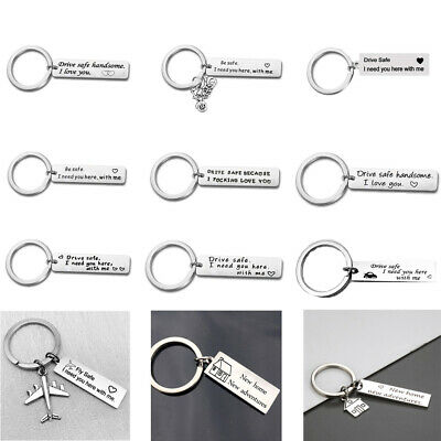 Couples Stainless Steel I Need You Here Drive Safe Fly Safe Keychain Key Rings
