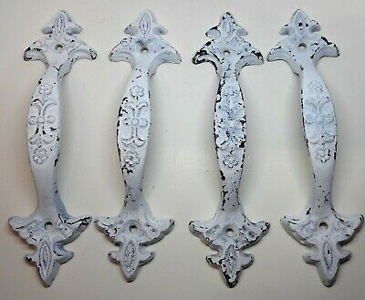 Set of 4 Cast Iron Large & Fancy Antique Replica Drawer Pull/Barn Gate Handle