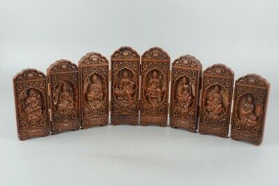 Chinese Exquisite Hand carved Guanyin Carving Boxwood screen statue