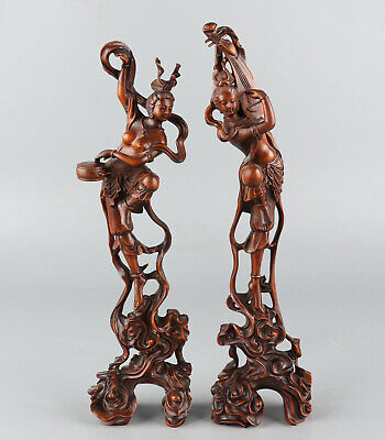 Chinese Exquisite Hand-carved beauty Carving Boxwood statue 2pcs