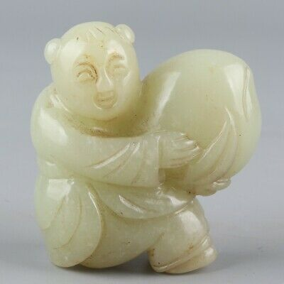 Chinese Exquisite Hand-carved child Peach Carving Hetian jade statue