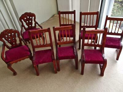Vintage Dollhouse Miniature Set of 8 Classic Upholstered Wood Dining Chairs 1/12